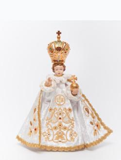 Pražské Jezulátko porcelánové oblečené 34,5cm / 13.58in - bílé