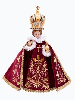 Pražské Jezulátko pryskyřicové oblečené – zmenšená Kopie 24cm / 9.45in s keramickou korunou - vínové