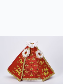 Dress 21cm / 8.27in (Designed for Infant Jesus of Prague Porcelain Statue 34,5cm / 13.58in and Resin Statue 24cm / 9.45in) - Red - Design Rose