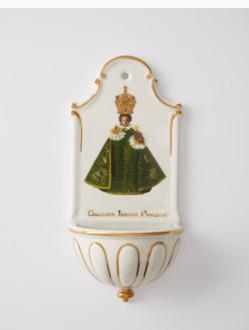 Kropenka porcelánová s Pražským Jezulátkem - velká - zelená