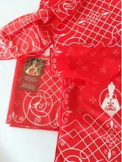 Silk Scarf with the Infant Jesus of Prague Motif - Red