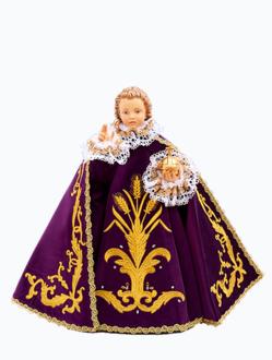 Pražské Jezulátko dřevěné oblečené 35cm/13.78in - fialové - vzor Klasy