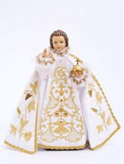 Pražské Jezulátko dřevěné oblečené 42cm/16.5in - bílé - vzor IHS