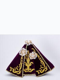 """Šaty (35cm / 13.78"""") na Pražské Jezulátko dřevěné (42cm / 16.5"""") – fialové - vzor Klasy"""