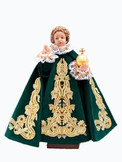 Pražské Jezulátko pryskyřicové oblečené – Kopie 48cm/18.89in - zelené - vzor Marie Terezie
