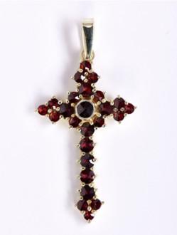 Přívěsek – Křížek Granátový Pozlacený -OKO