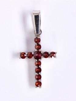 Přívěsek – Křížek Granátový Stříbrný -Malý