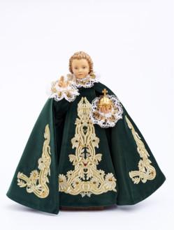 Pražské Jezulátko dřevěné oblečené 52cm/20.47in - zelené - vzor Marie Terezie