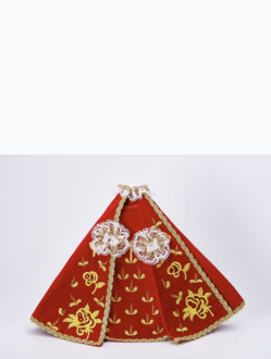 Šaty 35cm / 13.78in (na dřevěnou sošku Pražského Jezulátka 42cm / 16.5in) – červené - vzor Růže