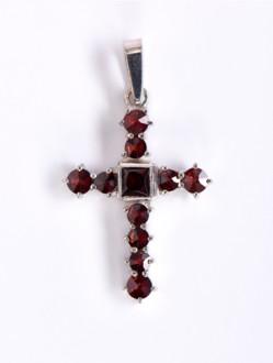 Přívěsek - Křížek Granátový Stříbrný -Velký
