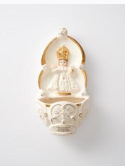 Kropenka keramická s Pražským Jezulátkem - bílá
