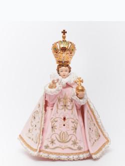 Pražské Jezulátko porcelánové oblečené 34,5cm / 13.58in - růžové
