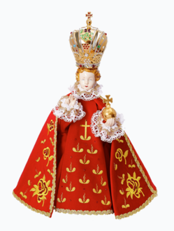 Pražské Jezulátko porcelánové 57cm / 22.44in - červené - vzor Růže
