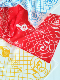 Silk Scarf with the Infant Jesus of Prague Motif - Gold