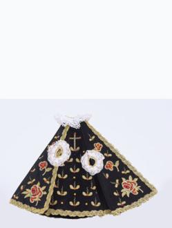 Šaty 21cm / 8.27in (na sošku Pražského Jezulátka porcelánovou 34,5cm / 13.58in a pryskyřicovou 24cm / 9.45in) - černé