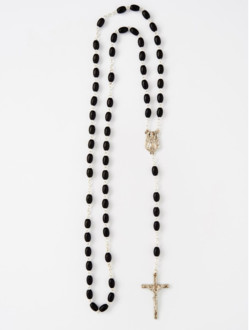 Wood Rosary with Chain – Black