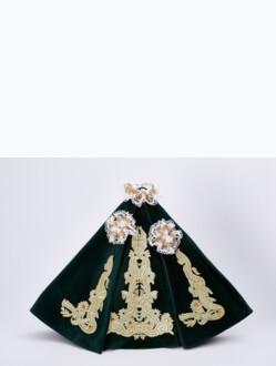 """Šaty (35cm / 13.78"""") na Pražské Jezulátko dřevěné (42cm / 16.5"""") – zelené - vzor Marie Terezie"""