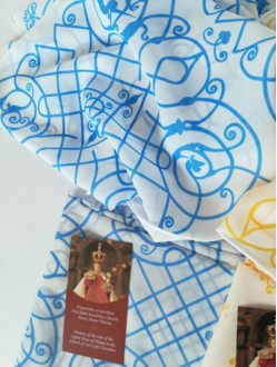Silk Scarf with the Infant Jesus of Prague Motif - Blue