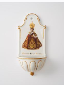 Kropenka porcelánová s Pražským Jezulátkem - velká - červená