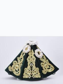 Šaty 18cm / 7.09in (na dřevěnou sošku Pražského Jezulátka 23cm / 9.06in) - zelené - vzor Marie Terezie