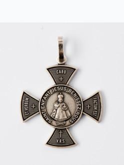 Přívěsek Kovový – Pražské Jezulátko - Ochranný Kříž Velký-Tmavý