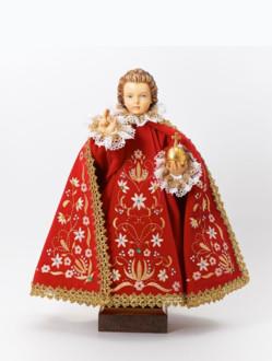 Pražské Jezulátko dřevěné oblečené 42cm/16.5in - červené