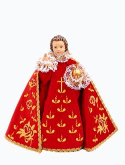 Pražské Jezulátko dřevěné oblečené 35cm/13.78in - červené - vzor Růže
