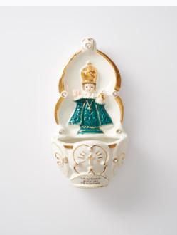 Kropenka keramická s Pražským Jezulátkem - zelená