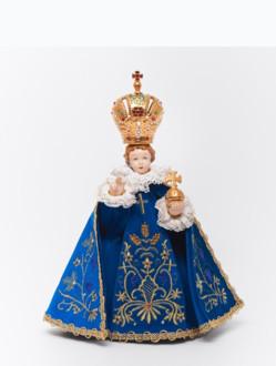Pražské Jezulátko porcelánové oblečené 34,5cm / 13.58in - modré