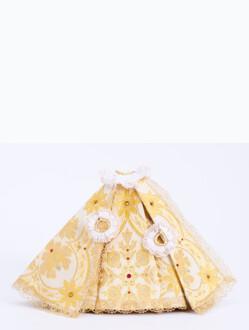 """Šaty (21cm / 8.27"""") na Pražské Jezulátko pryskyřicové (24cm / 9.45"""") - zlaté"""