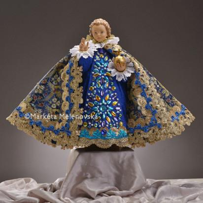 Šaty umělecké 43cm / 16.93in (na dřevěnou sošku Jezulátka 52cm / 20.47in) - kolekce modrá / zelená