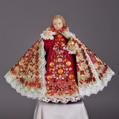 Šaty umělecké 43cm / 16.93in (na dřevěnou sošku Jezulátka 52cm / 20.47in) - kolekce červená
