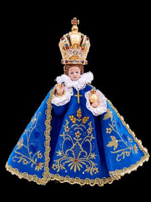 Pražské Jezulátko pryskyřicové oblečené – zmenšená Kopie 24cm / 9.45in s keramickou korunou - modré