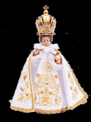 Pražské Jezulátko pryskyřicové oblečené – zmenšená Kopie 24cm / 9.45in s keramickou korunou - bílé - vzor IHS