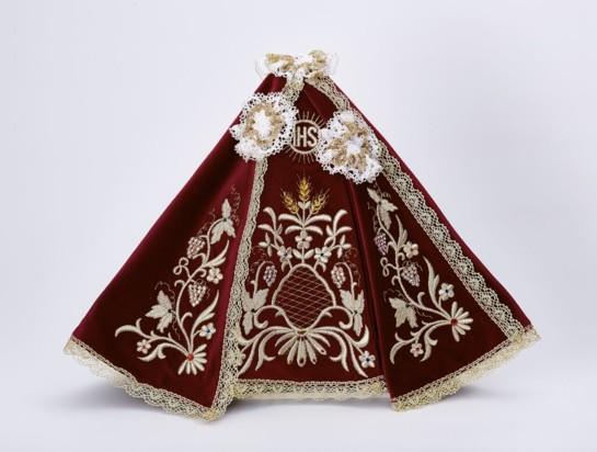 Šaty 35cm / 13.78in (na dřevěnou sošku Pražského Jezulátka 42cm / 11.81in) – vínové
