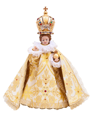 Pražské Jezulátko pryskyřicové oblečené – zmenšená Kopie 24cm / 9.45in s keramickou korunou - zlaté