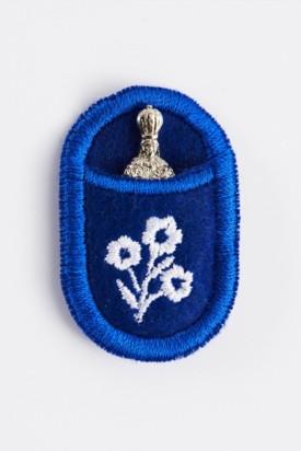 Pražské Jezulátko v pouzdře - poniklované-modré