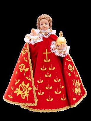 Pražské Jezulátko pryskyřicové oblečené – Kopie 48cm/18.89in - červené - vzor Růže