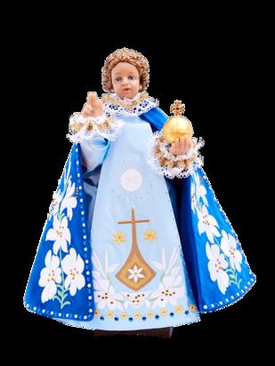 Pražské Jezulátko pryskyřicové oblečené – Kopie 48cm/18.89in - modré - vzor Karmel