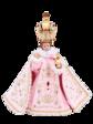 Pražské Jezulátko pryskyřicové oblečené – zmenšená Kopie 24cm / 9.45in s keramickou korunou - růžové