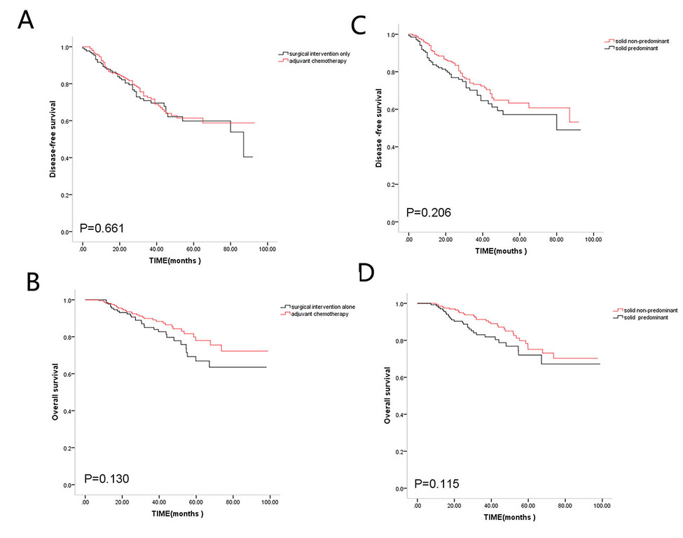 1disease  free survival (a) and overall survival (b) of in all patients involved surgical intervention alone and adjuvant chemotherapy and disease free survival(c) and overall survival(.jpg