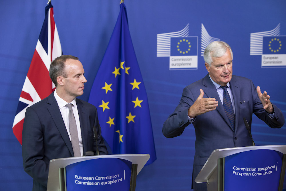 Barnier and Raab earlier agreed negotiate on a weekly basis