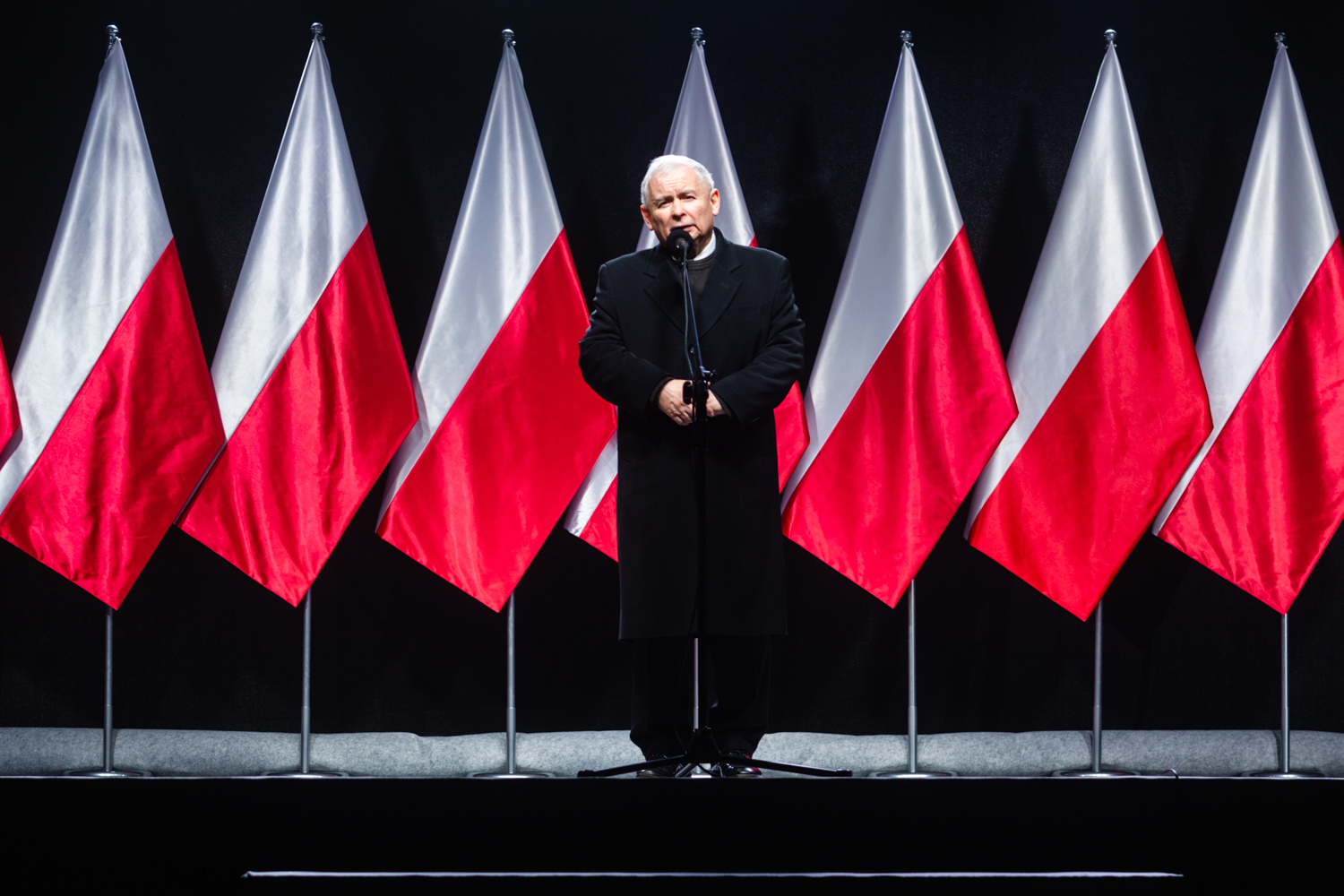Jaroslaw Kaczynski at unveiling of new monument to his late brother Lech in Warsaw on 10 November