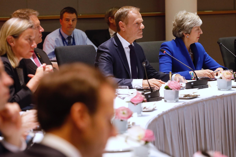 Donald Tusk and Theresa May at the start of the summit meeting