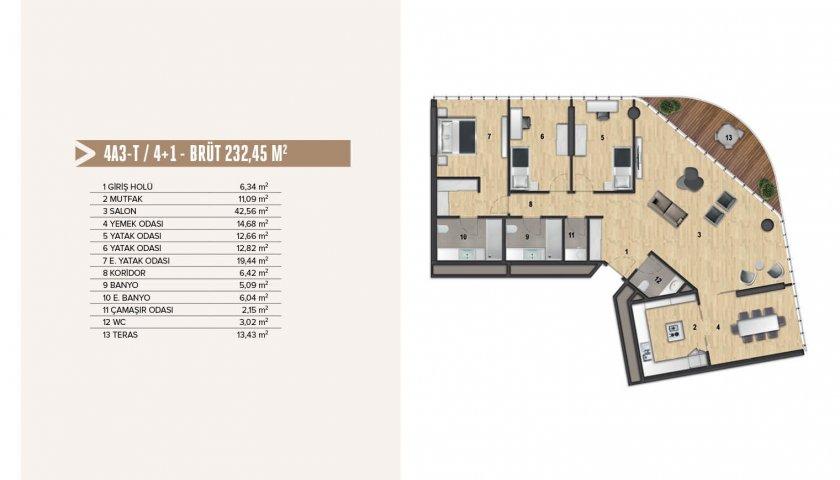 Yenitepe Kadıköy 4+1. kat görseli