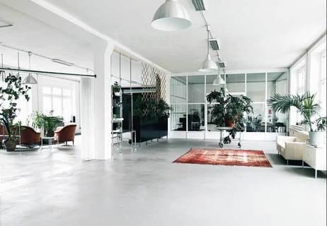 Arbeitsplatz in hellen Loftstudio voller Pflanzen mit Fotostudio und Makerspace