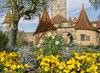 Burgtor rothenburg o.d. tauber  ostern burggarten blumen stadtmauer fr%c3%bchling sonne %c2%a9rothenburg tourismus service  wp  rts334