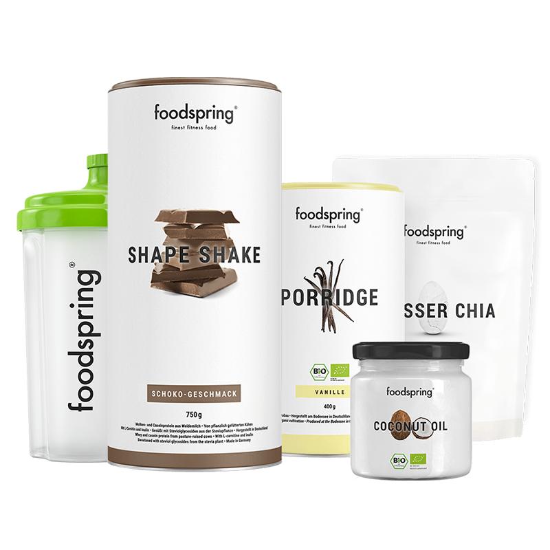Shape Paket - Shape Shake Schokolade, Porridge Vanille, Kokosöl & Chiasamen