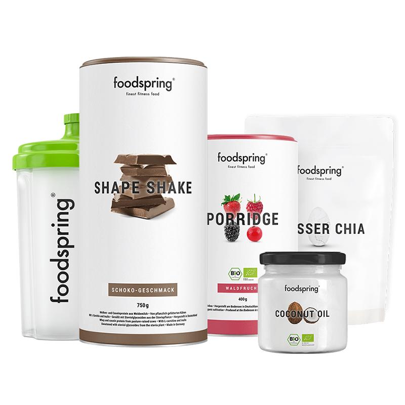 Shape Paket - Shape Shake Schokolade, Porridge Waldfrucht, Kokosöl & Chiasamen