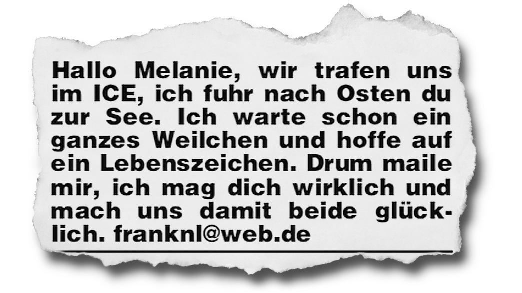 Traumfrau gesucht: Melanie, bitte melde dich!